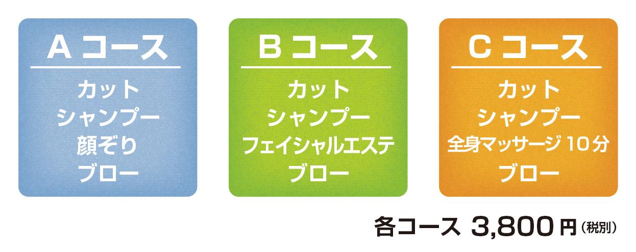 Aコース:カットシャンプー+顔ぞり+ブロー、Bコース:カットシャンプー+フェイシャルエステ+ブロー、Cコース:カットシャンプー+ヘッドマッサージ10分+ブロー、3800円